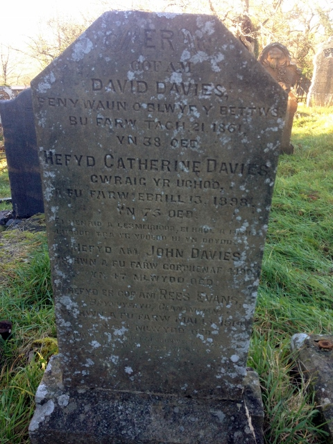 Headstone of David and Catherine Davies, John Davies and Rees Evans