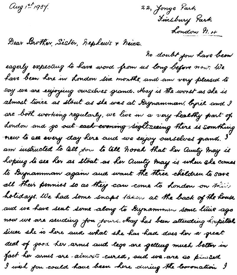 Letter from David John Evans (1)