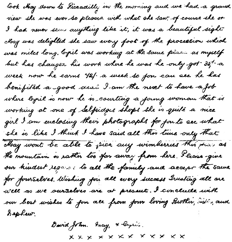 Letter from David John Evans (2)