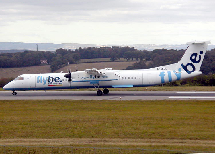Flybe aircraft at Bristol airport
