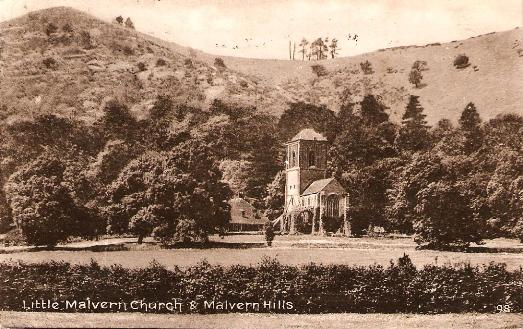 Little Malvern Church and Malvern Hills