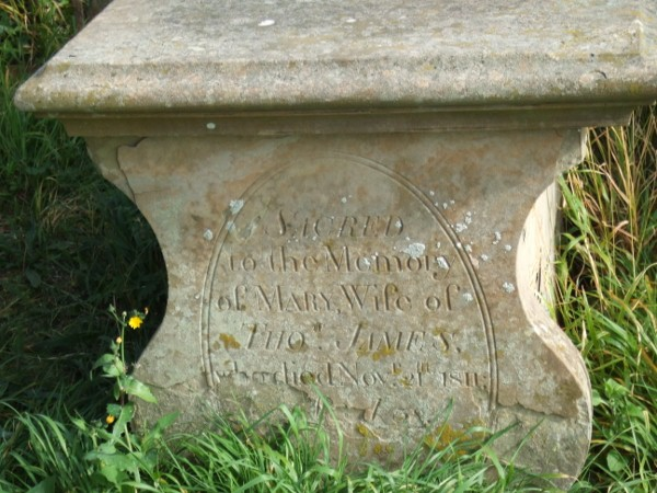 Mary James on chest tomb