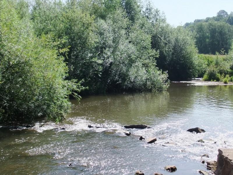 Skenfrith, river beyond castle