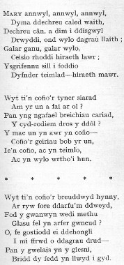 Watcyn Wyn's poem written after Mary's death