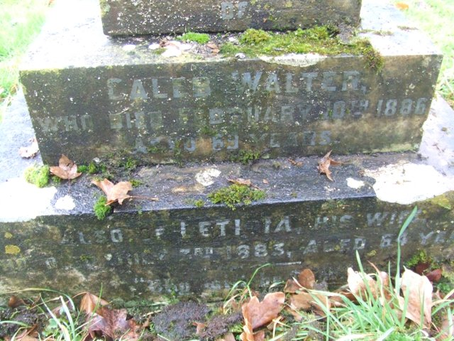 Closeup of Caleb and Letitia's memorial