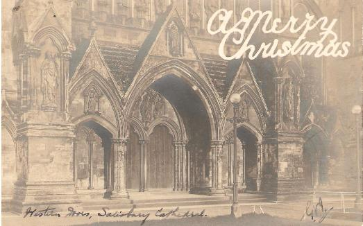 Historic Doors, Salisbury Cathedral - Christmas Greetings