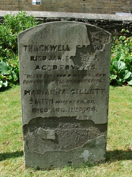 Thackwell and Marianna Smith's gravestone